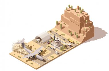 Vector isometric low poly desert airport terminal building and control tower with humanitarian cargo airplane landing on dust airstrip, trucks unloading boxes by forklifts in hangar