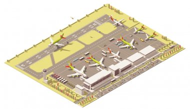Vector isometric low poly airport terminal building with control tower, landing jet, airplanes at apron and Ground Support vehicles