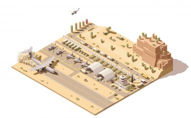 Vector isometric low poly infographic element representing map of military airport or airbase with jet fighters, helicopters, armored vehicles, structures, control tower and cargo airplane landing