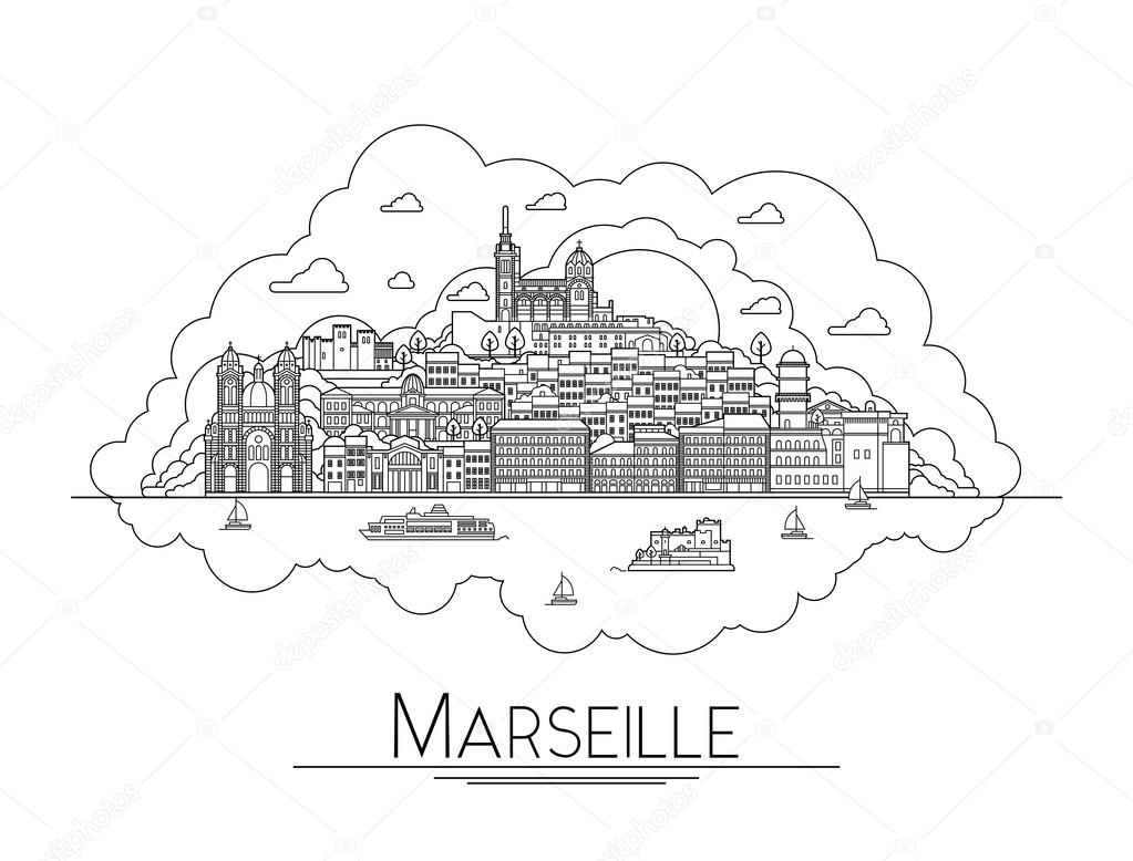 Vector Line Art Marseille France Travel Landmarks And Architecture Icon The Most Popular