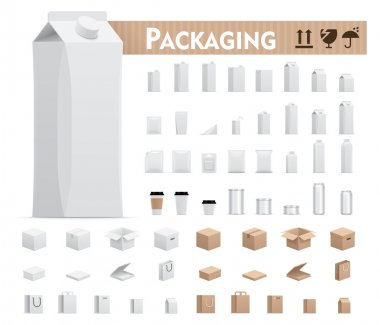 Vector retail packages set
