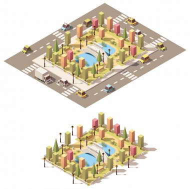 Vector isometric low poly urban park