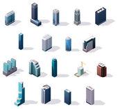 Photo Vector isometric city center buildings set