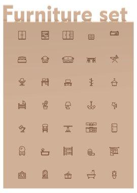 Vector domestic furniture icon set