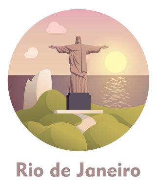 Vector icon representing Rio de Janeiro as a travel destination clip art vector