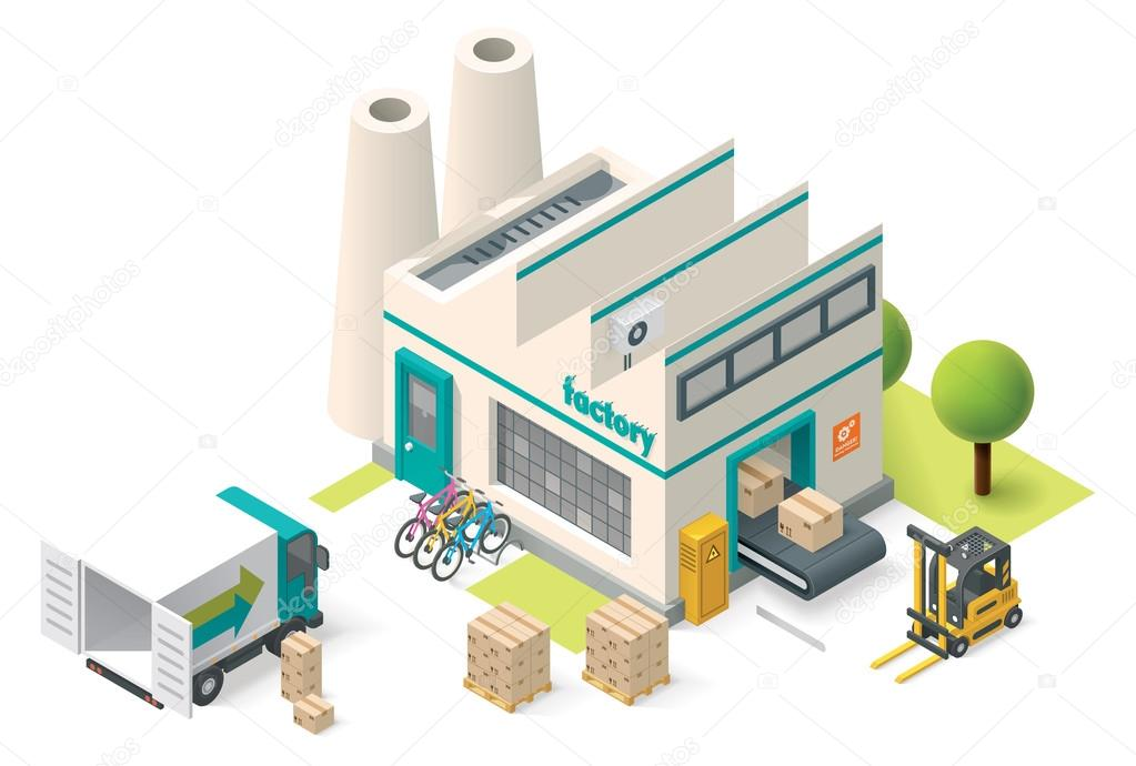 Vector isometric factory — Stock Vector © tele52 #69535501