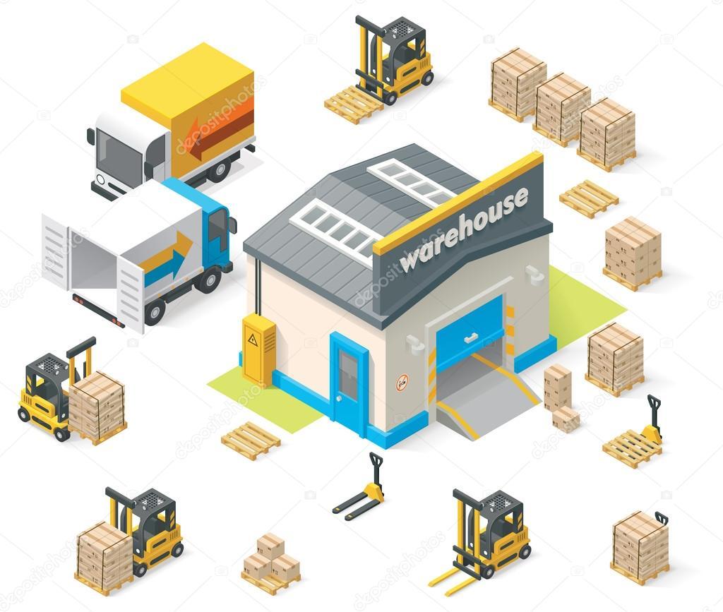 Vector isometric warehouse