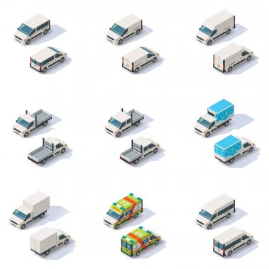 Vector isometric vans set