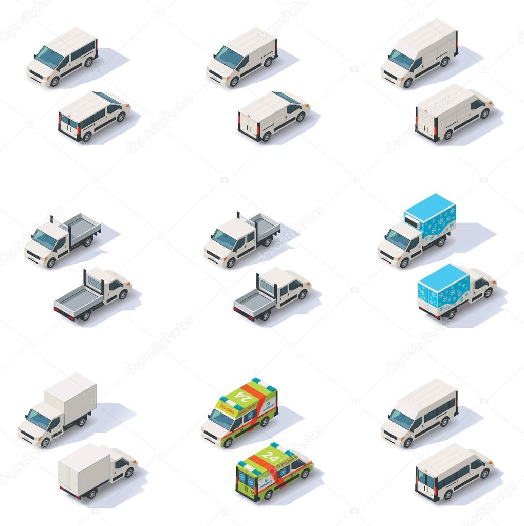 Vector isometric vans set