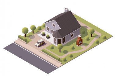 Vector isometric modern house