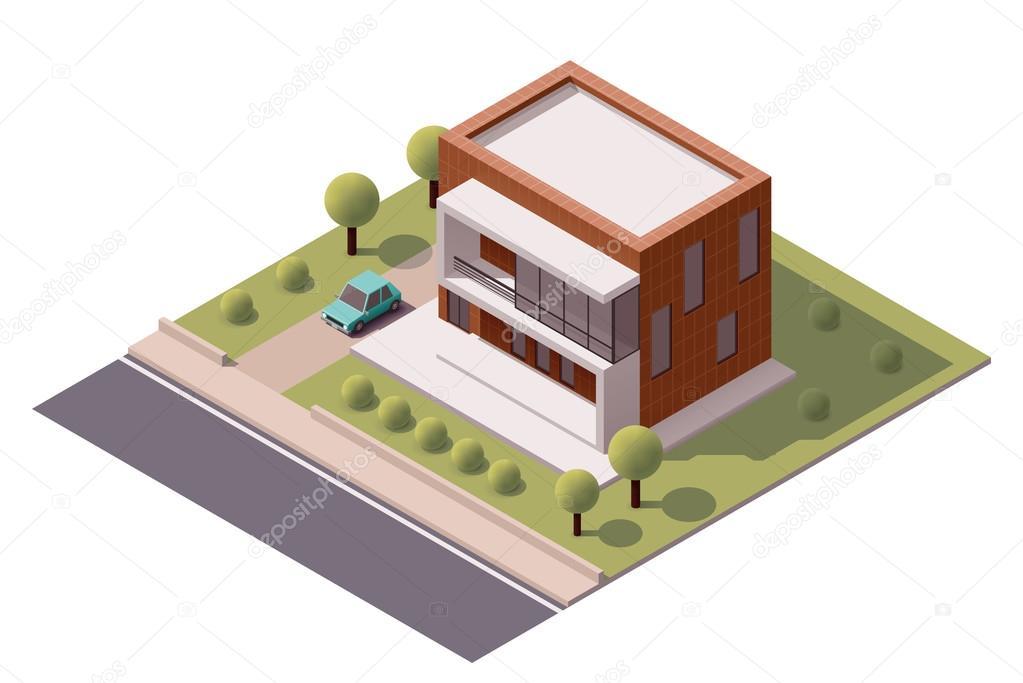 Vector isometric modern house stock vector tele52 for Minecraft 3d blueprint maker
