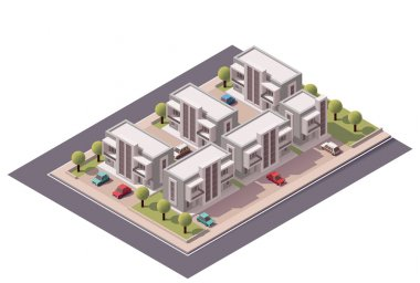 Vector isometric townhouses set