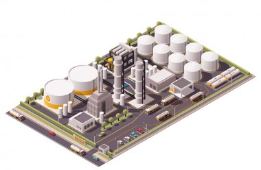 Vector isometric oil refinery