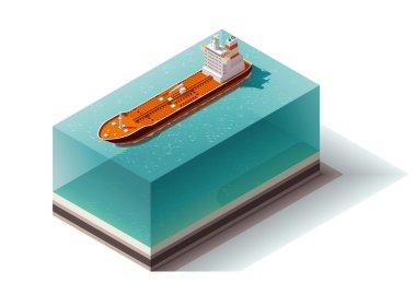 Vector isometric oil tanker ship