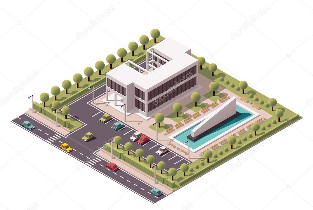 Icône d immeuble de bureaux isométrique de vecteur u image