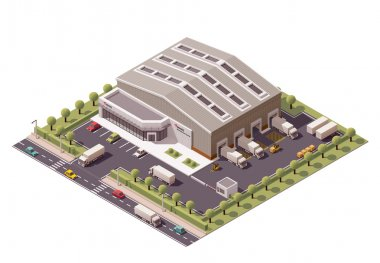 Vector isometric warehouse