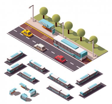 Vector isometric buses set