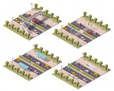 Vector isometric pedestrian crossings set