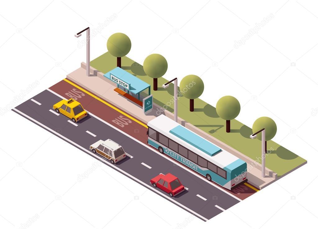 Vector isometric bus stop