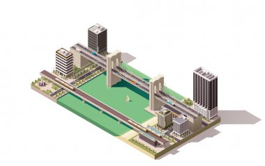 Vector isometric city map