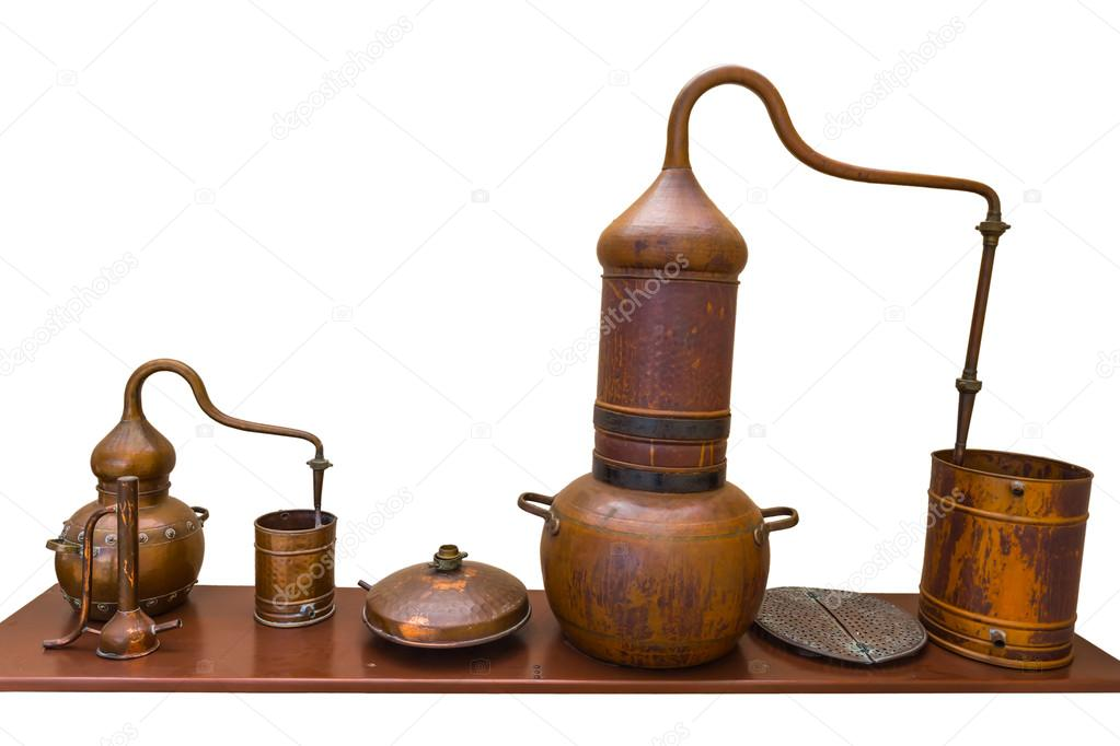 Old stylized copper distiller on a white background — Stock