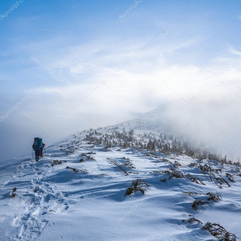 group of hikers in a misty winter mountain