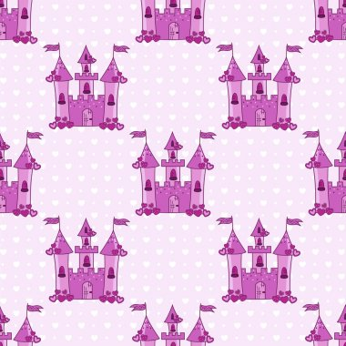 Seamless pattern with pink castles for a princess