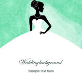 Egy szép sziluett, a menyasszony egy ruhát a türkiz háttér, minták
