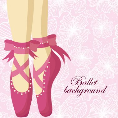 Beautiful feet of a ballerina in pointe shoes on a pink background with patterns
