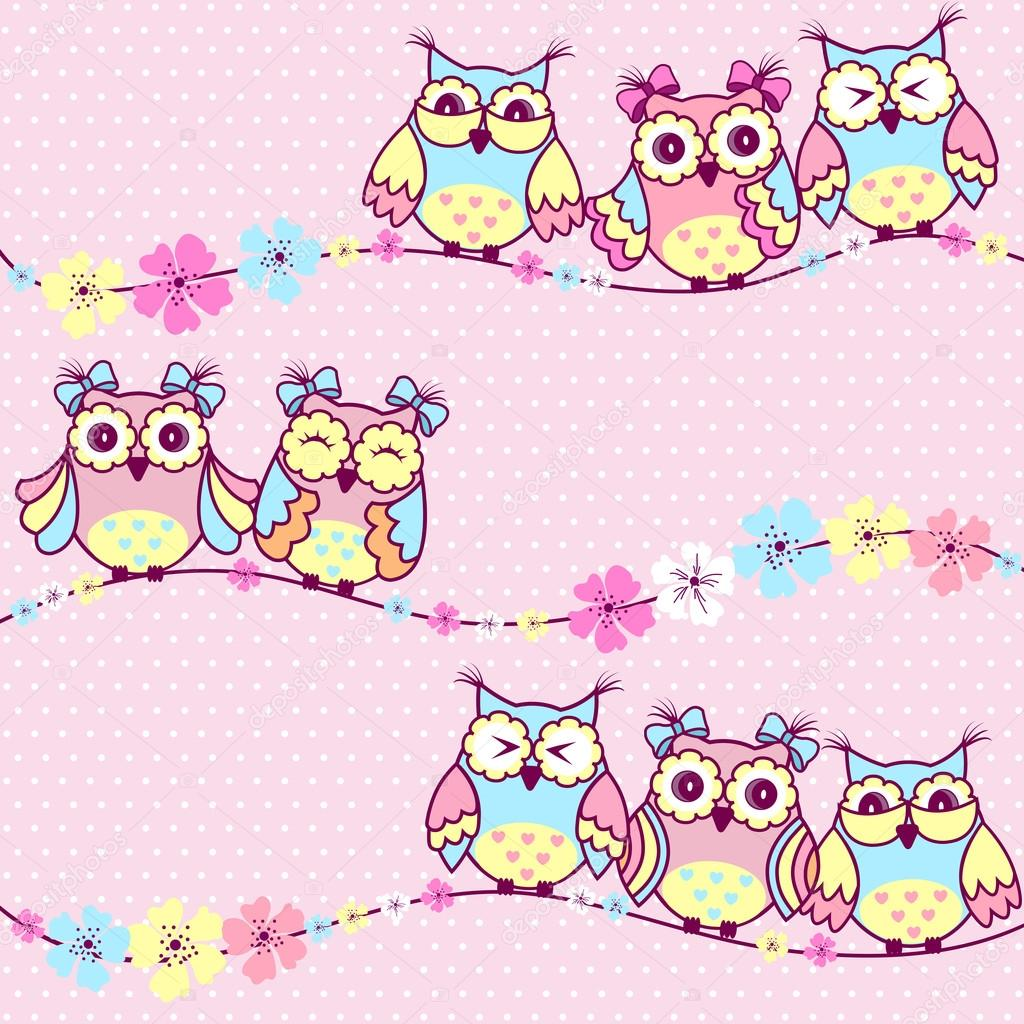 Beautiful pattern with owls and flowers on a pink background