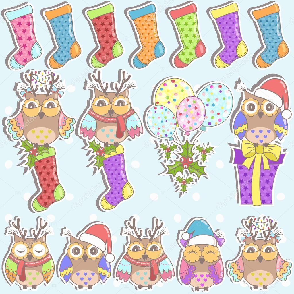 Weihnachten Satz Von Eulen Geschenke Weihnachten Socken Und
