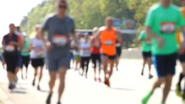 Blurred city marathon of a people