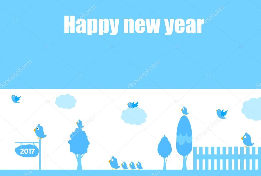 Rooster New Year's greeting card blue background