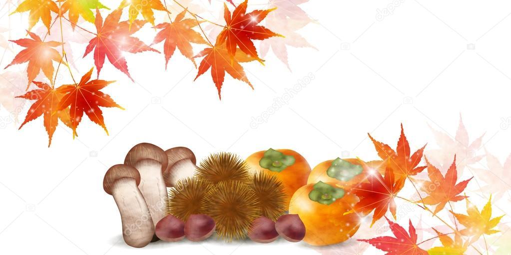 Autumn leaves autumn food background