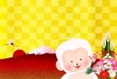 Fotografie Monkey Fuji New Years card
