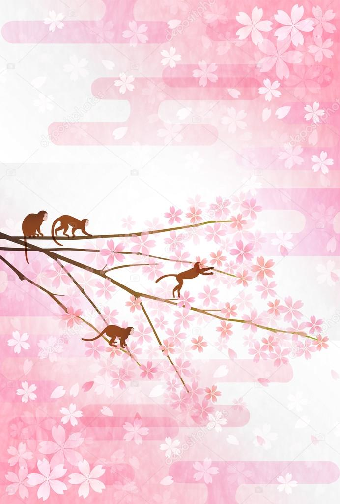 Monkey cherry greeting cards