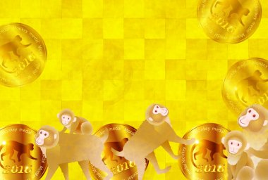 Monkey medal New Year's card background