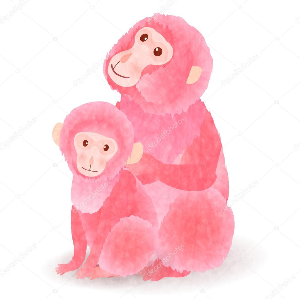 Monkey Pink Greeting Cards Icon Stock Vector Jboy24 88555036