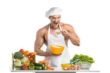 man bodybuilder cook
