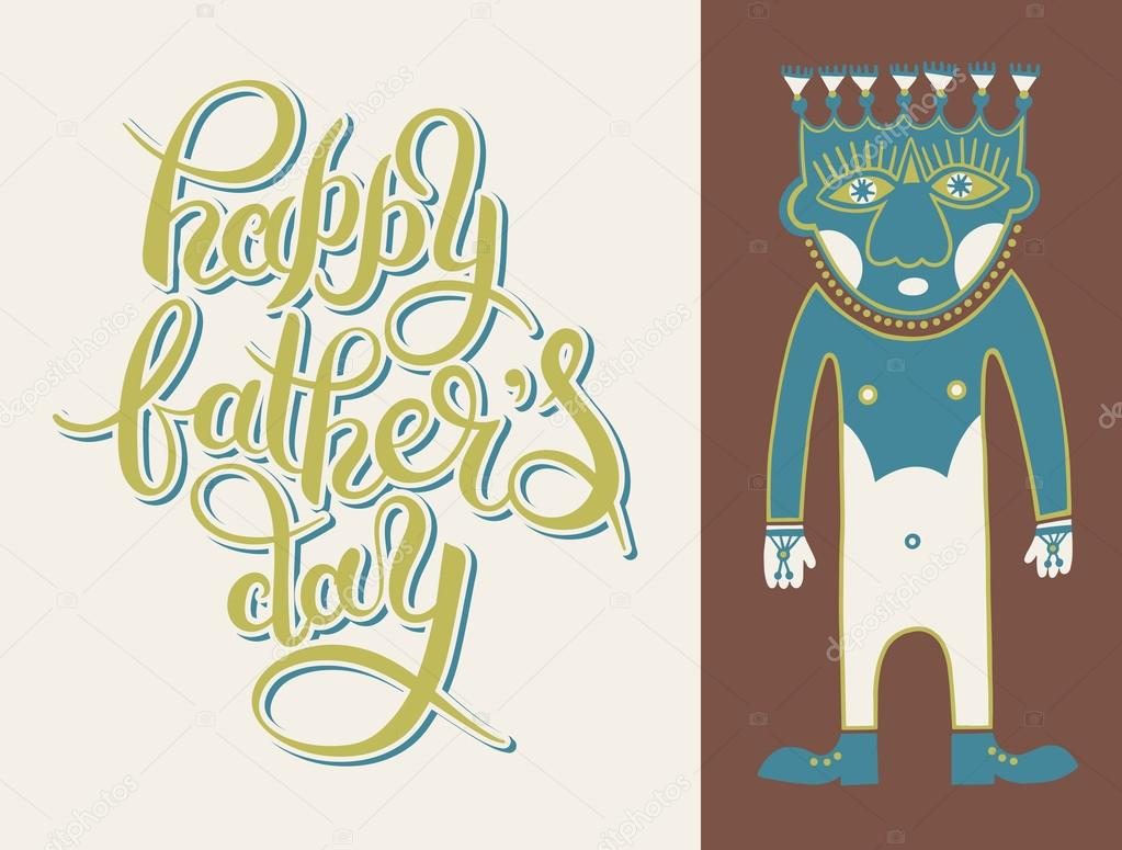 greeting card template for father day with hand lettering inscri