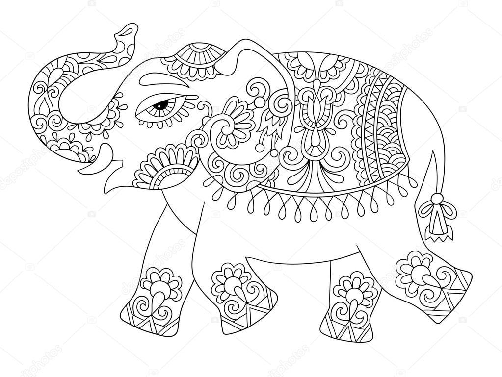 Elefante indiano tnico linha originais adultos desenho - Adulto da colorare elefante pagine da colorare ...