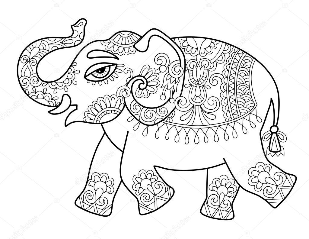 depositphotos_111923640 stock illustration ethnic indian elephant line original