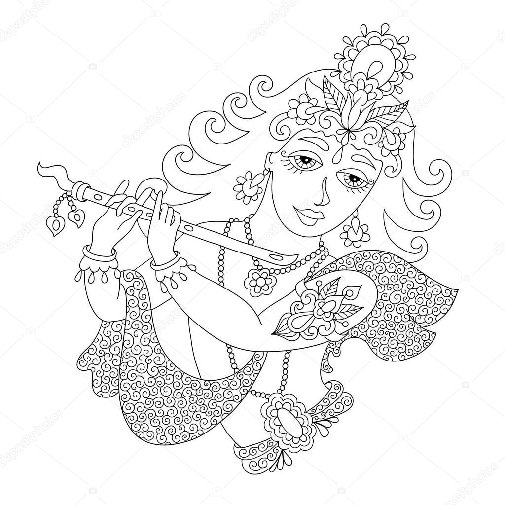 blanco y negro Dios Señor Krishna Janmashtami Festival — Archivo ...