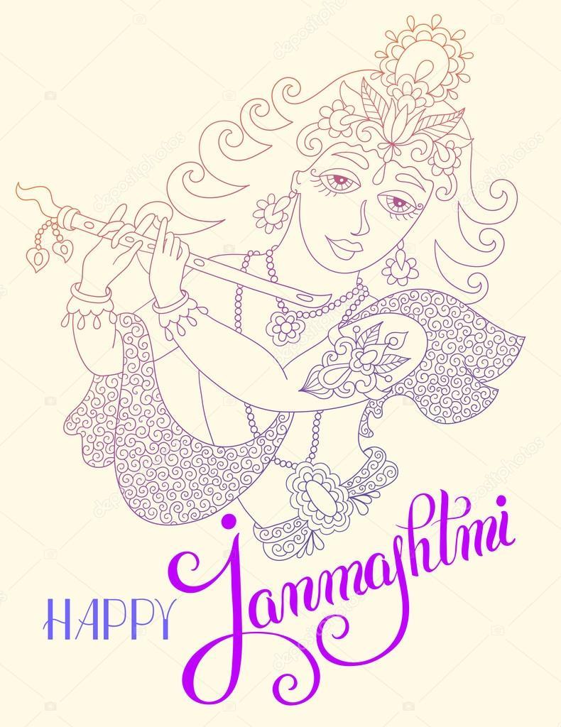 Dios Señor Krishna con mano rotulación inscripción feliz janmashtm ...