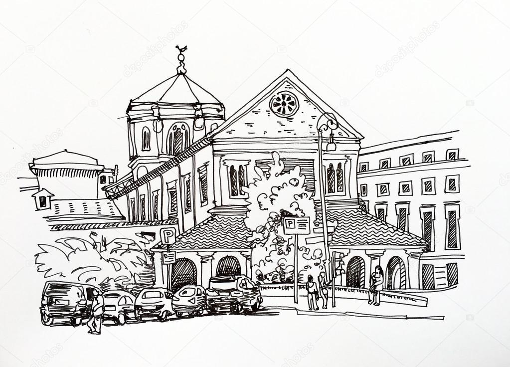 Dessin Desquisse Noir Et Blanc Du Paysage Urbain De Rome