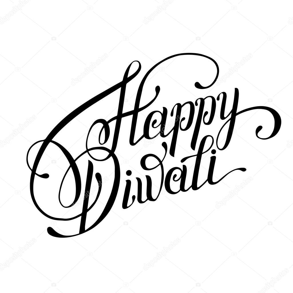 hand lettering inscription Happy Diwali to indian fire festival ... for Diwali Festival Black And White Images  1lp1fsj