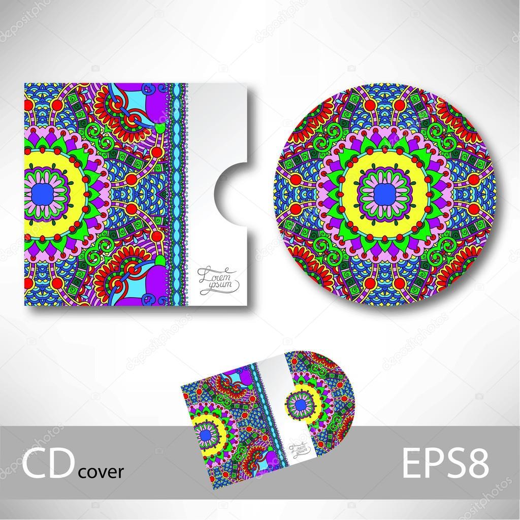 plantilla de diseño de tapa de CD con adornos de estilo étnico ...