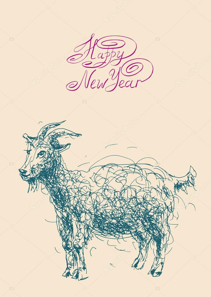 happy new year design card with goat or sheep chinese lunar sym stock vector