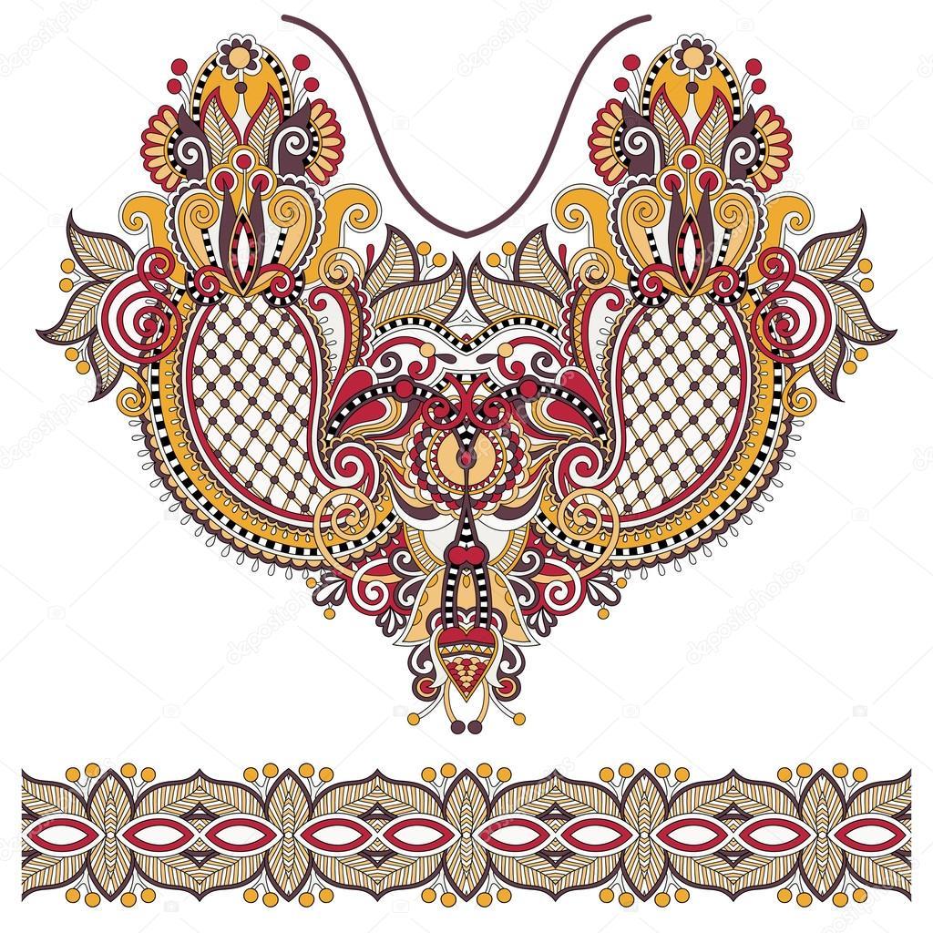Neckline Ornate Floral Paisley Embroidery Fashion Design Stock Vector C Karakotsya 56037075