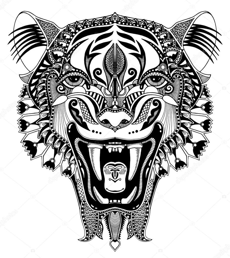 oorspronkelijke zwarte hoofd tijger tekenen met de